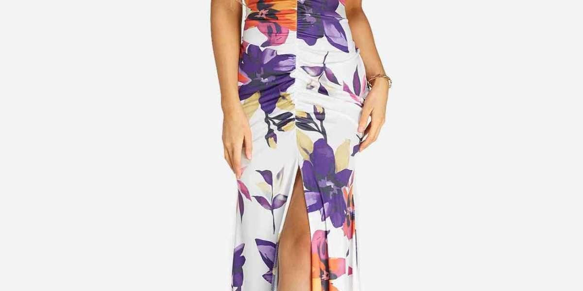V-Neck Floral Print Lace-Up Short Sleeve Irregular Hem Plus Size Dresses